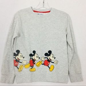 Disney Parks Mickey Mouse Print Gray Kids Pullover